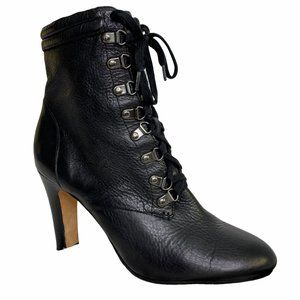 Halogen Black Lace-up Almond Toe Leather Boots